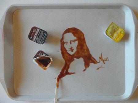 ve tranh bang do an4 Vẽ tranh tuyệt đẹp bằng đồ ăn